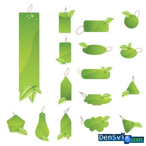 Green Leaf Labels Vector