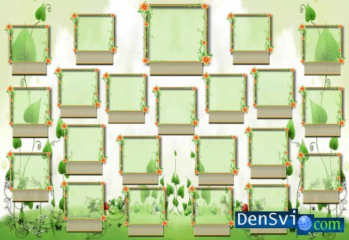 Green Vignette for Children of school or for a kindergarten
