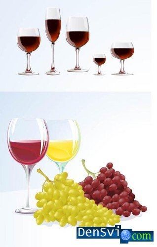 Wine and Grapes in Vector