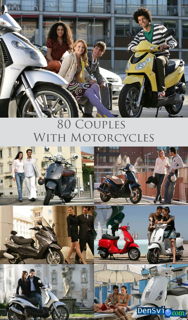 Clipart - Couples With Motorcycles