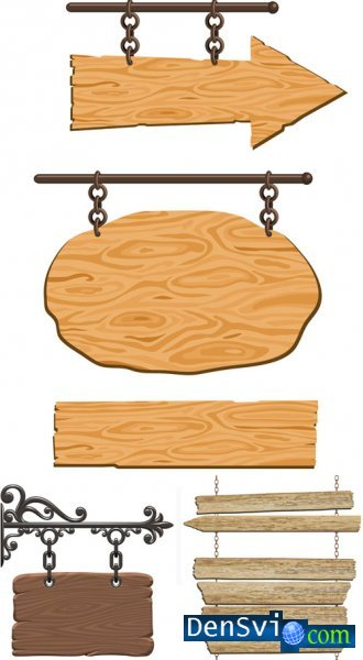 Wooden signboards in Vector