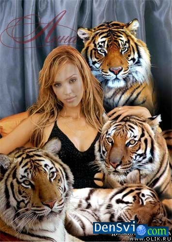 Template for a photomontage - With Tigers