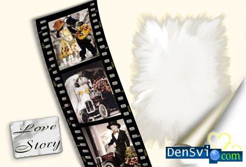 Рамка для Фотошопа - История Любви Photoframe - Love store PSD 62*42см