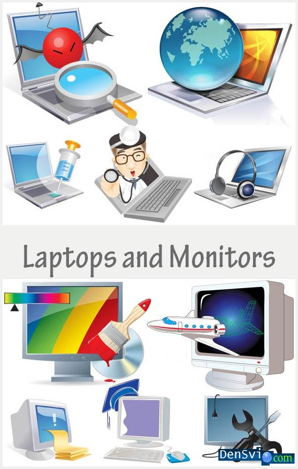 Laptops and Monitors Vector