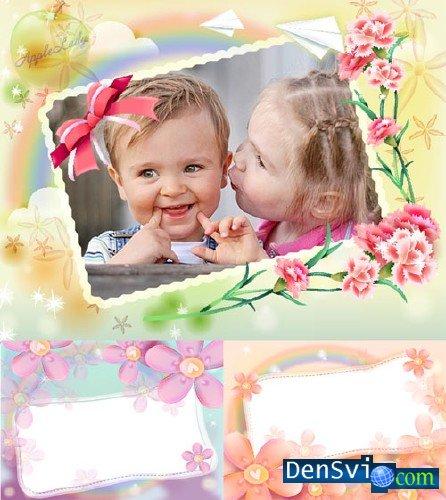 Весенние нежные детские рамки для