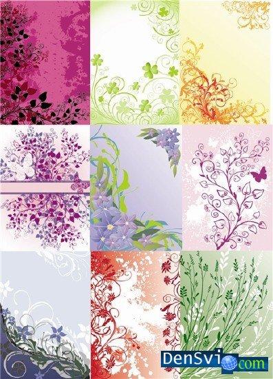 Цветочные векторные фоны