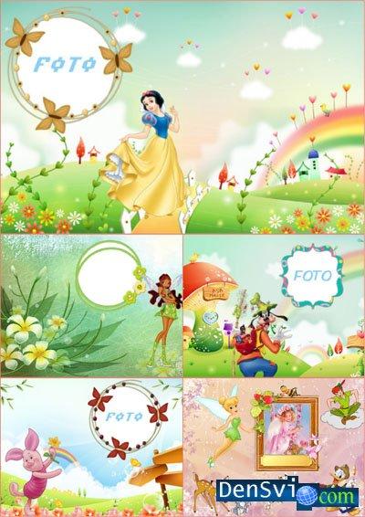 Яркие детские рамки для фотошпа с героями мульфильмов ...