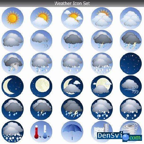 Векторные иконки погода weather icon set