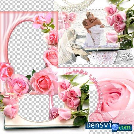 Рамки для фотошопа с розовыми розами