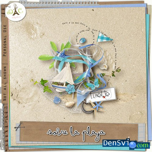 Скрап набор sobre la playa на пляже