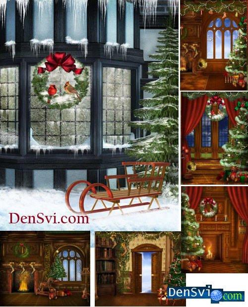 Рождественские нарисованные фоны
