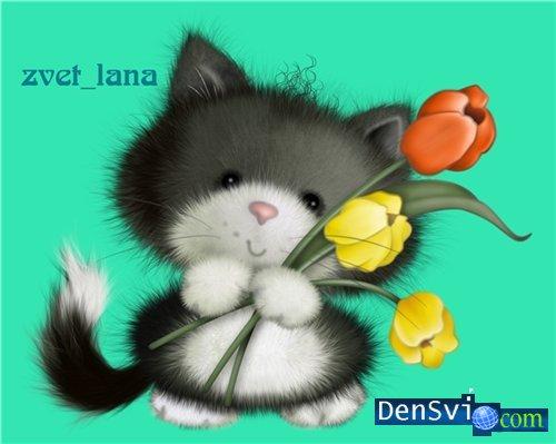 Отрисовка для фотошопа милый котенок