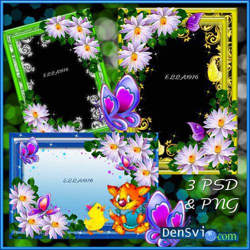 Эффектные цветочные рамки фотошопа