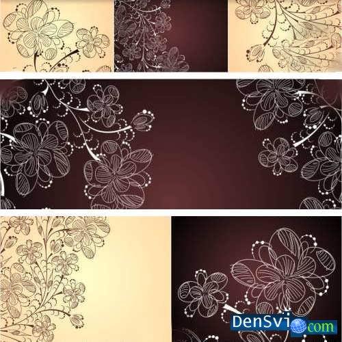 Векторные фоны цветочные узоры