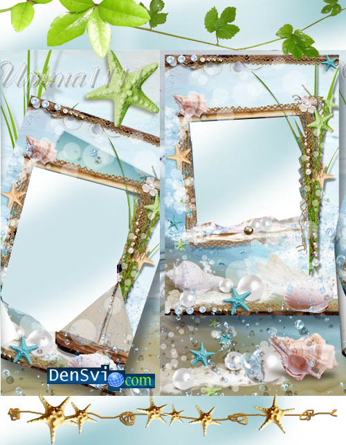 Рамки для фотошопа морские звёздочки