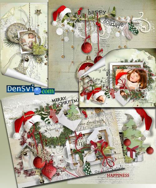 Скрап-набор зимний новогодний