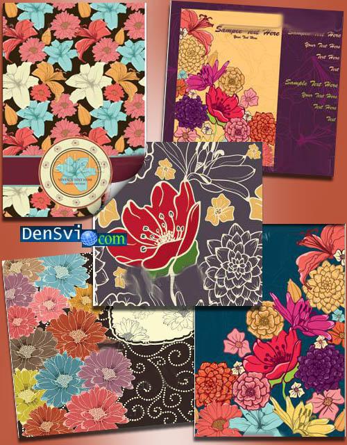 Фоны вектороные цветочные открытки
