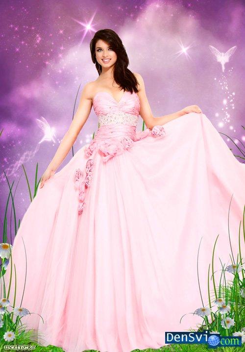Шаблон фотошоп нежно розовое бальное
