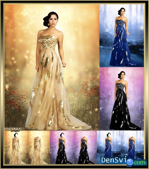 рамки для фотошопа в женских платьях.