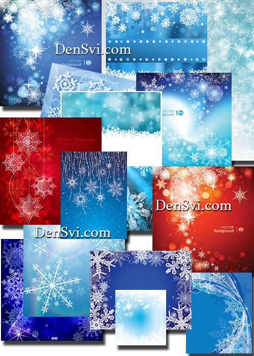Фоны со снежинками - вектор. Backgrounds with snowflakes