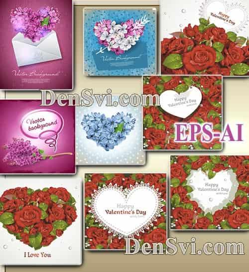 Валентинки цветочные сердечки - Векторный клипарт