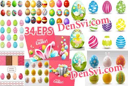 Пасхальные яйца и атрибутика Пасхи - Вектор