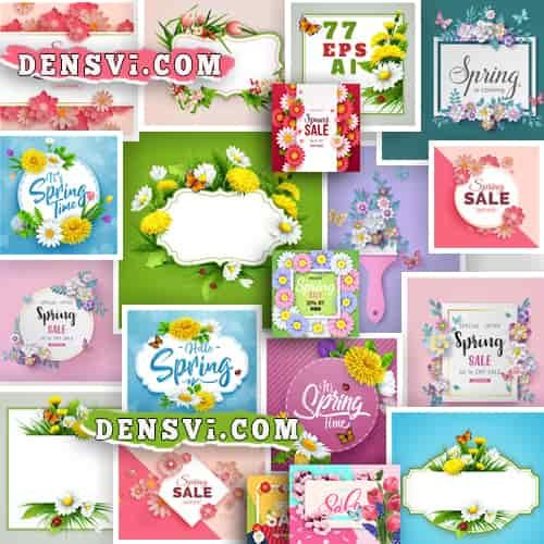 Spring cards Весенние открытки рамки 77 eps-ai